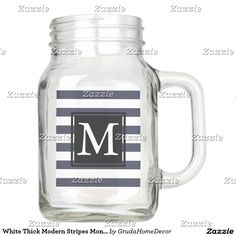 White Thick Modern Stripes Monogrammed Mason Jar