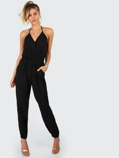 338e499632a8 Shop Surplice Self Tie Halter Jumpsuit online. SHEIN offers Surplice Self  Tie Halter Jumpsuit & more to fit your fashionable needs.