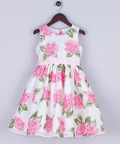 Look at this Joe-Ella Pink Floral Organza Burnout Dress - Infant, Toddler & Girls on #zulily today!