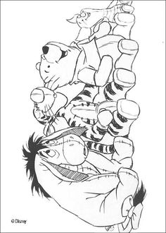 Winnie's friends: Piglet, Eeyore and Tigger, coloring page