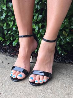Perfect little black heel for any night on the town! Open Toe High Heels, Black Strappy Heels, Black High Heels, Stiletto Heels, Wedge Heels, Blue Toes, Gorgeous Feet, Beautiful Shoes, Shoe Boutique