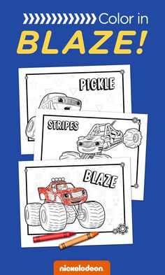 Print these Blaze and the Monster Machines coloring pages to keep your preschoolers entertained. Your preschooler can color in Blaze and his monster machine friends like Zeg, Stripes, Starla, and Pickle!