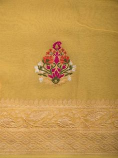 Yellow Color Pure Tusser Georgette Silk Banarasi Saree with Resham Meena Zari Booti across the body with zari work Border and Pallu. Sleeves Designs For Dresses, Sleeve Designs, Blouse Designs, Embroidery Works, Hand Embroidery Designs, Stylish Dress Designs, Stylish Dresses, Baby Girl Names Spanish, Banarasi Sarees