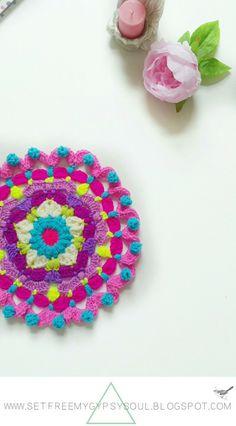 Peggy in Pink Bohemian Flower Mandala   Free Crochet Pattern - a floral star…