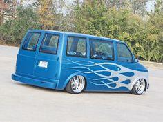 This custom 1990 Chevrolet Astro Van has air ride suspension, custom paint, and 18 inch wheels. Check it out at Mini Truckin' Magazine. Chevy Astro Van, Chevrolet Astro, Chevy Van, Mini Trucks, Cool Trucks, Custom Van Interior, Gmc Safari, Dream Car Garage, Vanz