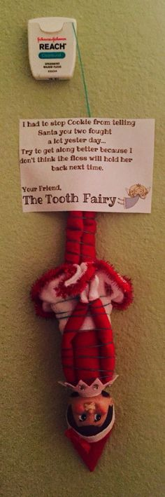 Love this idea! Elf on the Shelf had an encounter with the Tooth Fairy - so cute to get kids to get along. Christmas Elf on the Shelf ideas