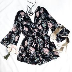 It's all about the prints! ✨  Floral Vibes Overlap Romper  Cat Walk Strap Pumps