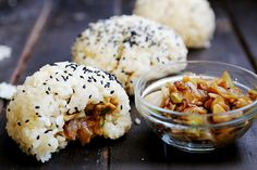 Sesame Rice Balls with Caramelised Onions and Tempeh