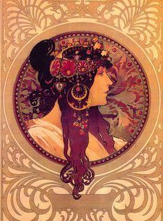 Byzantine Heads: Brunette, by Alphonse Mucha, 1897