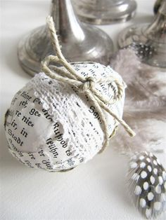 love the paper, lace, and twine covered easter egg!