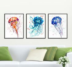 Bathroom print Jellyfish watercolor painting Set of 3 by colorZen