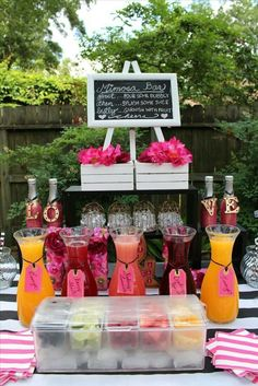 Kate Spade Theme Mimosa Wedding Drink Bar / www. Kate Spade Theme Mimosa Wedding Drink Bar / www. Drink Bar, Bar Drinks, Fruit Drinks, Beverages, Bar Mimosa, Sangria Bar, Bubbly Bar, Mimosa Brunch, Prosecco Bar