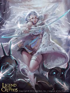 Artist: Unknown name aka Datouxiaozuo - Title: XXX.2 - Card: Ice Huntress Floriana (Foraging)