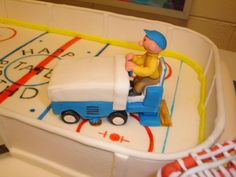 Detail in sugar art from hockey birthday cake - the Zamboni driver @Sherri Levek Kay Creations (as seen on Facebook)