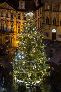Stationed right in the center of the Czech Republic's biggest Christmas Market at the Old Town Square, this tree is quite the sight to behold. It features a base of tiny houses that's inspiring us to get creative with our Department 56 villages.