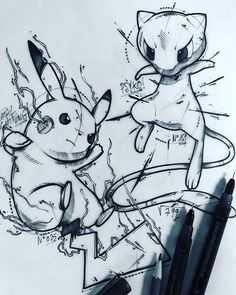 rnrnSource by gerdesben Mew E Mewtwo, Mew Pokemon, Pokemon Sketch, Pokemon Fan Art, Pikachu Art, Photo Pokémon, Pikachu Tattoo, Badass Drawings, Anime Tattoos