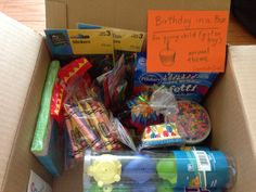Birthday in a box - for donating to a local shelter or food pantry: easy for a troop to do - troop decides on a theme and general age, then each child picks one item to add to the box - we put in cake mix, can of frosting, cupcake wrappers, candles, small party favors (squirt toy animals, animal stickers, crayons), favor bags, Smartees candies (nut and gluten free and long shelf life), birthday napkins, a small stuffed animal (for birthday child), and a label to explain the idea