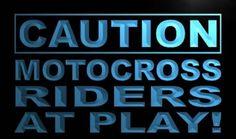 Caution Motocross Rider at Play Neon Light Sign