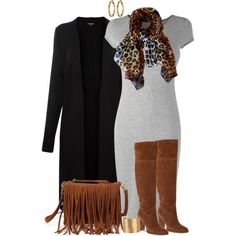 A fashion look from November 2014 featuring gray dress, open front cardigan and michael kors boots. Browse and shop related looks.