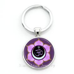 Mandala Key chain Sacred geometry Buddha Yoga Keychain New Art Picture Glass Dome Pendant Keyring Fashion Jewelry For Gifts KC02