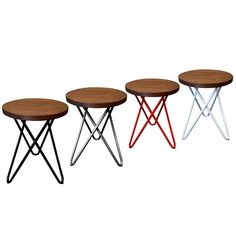Hairpin low stool for cafe, restaurant or home. Small 45 cm, raw wood seat and powder coated legs in four great colours. Surf Cafe, Small Stool, Low Stool, Raw Wood, Fashion Room, Hairpin, Bar Stools, Kids Room
