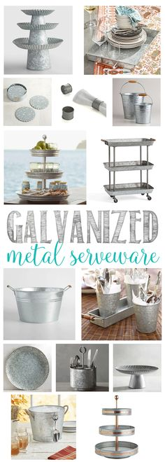Gorgeous Galvanized Metal Serveware that is perfect for your al fresco summer dining. Perfect rustic pieces to add to your party serving pieces. Galvanized Decor, Galvanized Metal, Galvanized Buckets, Decor Crafts, Diy Home Decor, Home Decor Inspiration, Decor Ideas, Wall Ideas, Diy Ideas