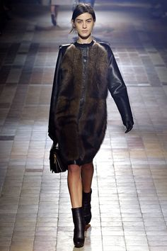 Leather and fur is a great combo in Lanvin Fall...