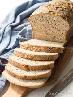 The Best Low Carb Bread Recipe with psyllium and flax! This low carb and keto bread recipe makes a regular sized loaf and tastes like sourdough bread.-USES BAKING POWDER - Possible yeast sub? Best Low Carb Bread, Lowest Carb Bread Recipe, Low Carb Keto, Low Carb Recipes, Bread Recipes, Paleo Bread, Bread Diet, Keto Cookies, Low Carb Sandwiches