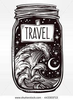 unique Tattoo Trends - Hand drawn romantic wish jar with night sky and water waves in the sea or ocean . Vector illustration isolated. Tattoo design, mystic magic symbol for your use. Label has a message to travel on it.
