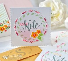 Just A Note Mini Card by Betsy Veldman for Papertrey Ink (April 2016)
