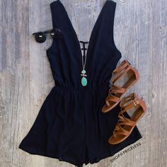 Off The Grid Romper - Black
