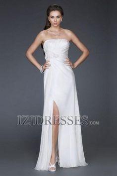 A-Line Sheath/Column Strapless Chiffon Evening Dress - IZIDRESS.com