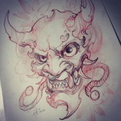 Sketch Tattoo Design, Tattoo Sketches, Tattoo Drawings, Body Art Tattoos, Art Sketches, Sleeve Tattoos, Oni Tattoo, Hanya Tattoo, Japanese Tattoo Art