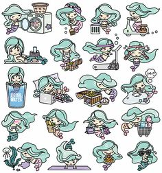 Premium Vector Clipart Kawaii Mermaid Cute Mermaids
