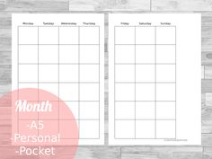 Free Filofax / Planner Printables Month on two pages for a5,personal and pockt size