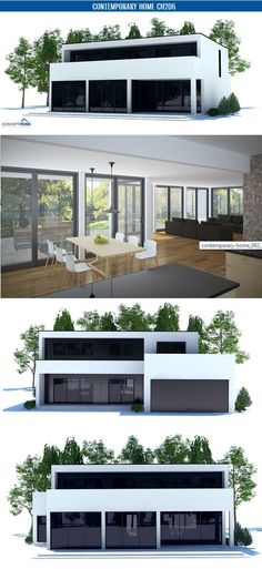 Contemporary House Plan with open planning, three bedrooms, two living areas. Full wall height windows. Floor area: 2325 sq ft,