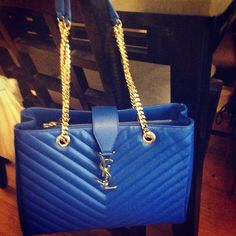 Classic Monogrammed Ysl Shopping Bag In Royal Blue