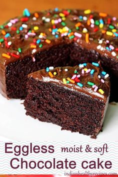 Eggless chocolate cake soft moist and delicious wacky cake or depression cake. One of the best eggless cake recipe thats vegan too. The post Eggless chocolate cake recipe Eggless Desserts, Eggless Recipes, Eggless Baking, Dessert Recipes, Easy Recipes, Simple Eggless Cake Recipe, Eggless Pasta Recipe, Eggless Birthday Cake Recipe, Instant Recipes