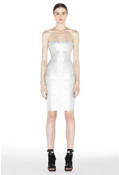 Herve Leger 2013 Silver Jacquard Bandage Dress