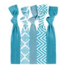 Twistband Karissa™ Hair Tie Set- 5 HAIR TIES: Turquoise Chevron On White | Turquoise Baroque On White | Turquoise Metallic | 2 Solid Turquoise