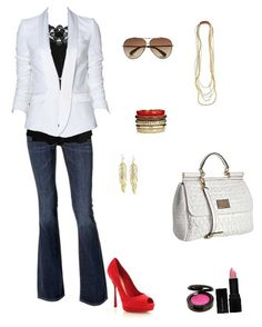 Look trabalho - jeans + blazer branco + sapato vermelho.