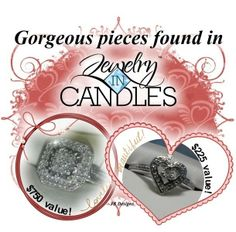 #Soy Candles #Candles #jewelry Will you be the lucky one to receive a diamond in your candle?  Each candle has a piece of jewelry...one lucky person will have a diamond!  https://www.jewelryincandles.com/store/estanton-candles