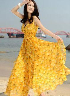 Apple Print Maxi Chiffon Dress - Yellow,  Dress, Apple Print Dress  Maxi Dress  Chiffon, Bohemian (Boho) / Hippie