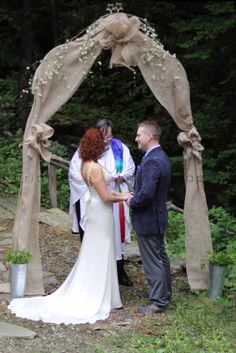 mara and adam keith wedding photo by brianne joy photography burlap wedding arch from