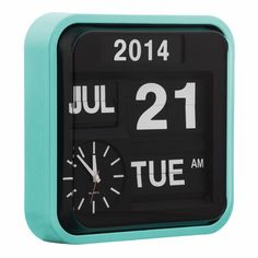 Peppermint Retro Square Calender Flip Clock | Wall Clocks | Cult UK