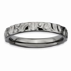 Sterling Silver Stackable Expressions Black-plated Ring