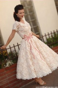 Lace Wedding Dress Tea Length Short Sleeves Josephine By Stephanie James Couture Vintage Style Dresses