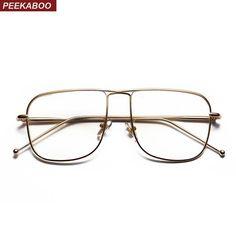 #FASHION #NEW Peekaboo vintage square eyeglasses frames men gold 2018 black silver metal glasses frame women fashion high quality