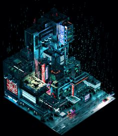 The best collection of cyberpunk animated pixel art, portraying a dark, rainy, lonely dystopian future. Cyberpunk City, Ville Cyberpunk, Arte Cyberpunk, Futuristic City, Pixel Art, 3d Pixel, Fantasy Landscape, Fantasy Art, Fantasy Castle