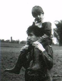"The ""U2 Boy"" Peter Rowan on the Edge's shoulders"